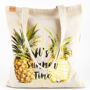 Boho Pineapple Print It's Summer Time Canvas Bag